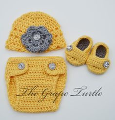 Baby Infant Diaper Cover, Hat & Bootie Set, Baby Girls Crochet Clothing and Shoes, Photo Prop, Coming Home Outfit