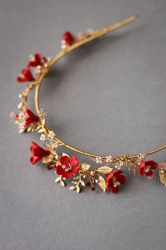 Wedding Jewelry HARVEST red gold wedding crown 8 - Inspired by a love for wild flowers, the Harvest red and gold wedding crown is reminiscent of freshly picked flowers from a field of wild blossoms. Wedding Accessories For Bride, Bridal Accessories, Jewelry Accessories, Jewelry Sets, Jewelry Rings, Cute Jewelry, Hair Jewelry, Bridal Jewelry, Gold Wedding Jewelry