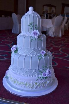 Roses and cage wedding cake - Cake by Novel-T Cakes