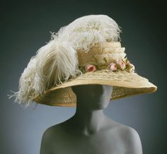 1910 feather and straw hat