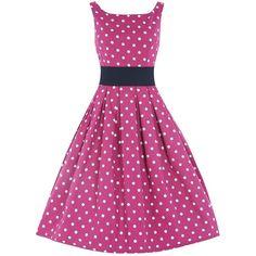 'Lana' Pink White Polka Dot Swing Dress (1.705 RUB) ❤ liked on Polyvore featuring dresses, pink, white swing dress, white circle skirt, circle skirt, swing dress and white trapeze dress