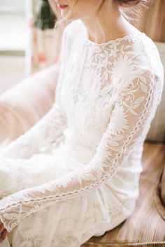Chloe Dress by Rue de Seine Lace long sleeves by M and J Photography