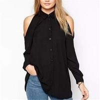 Cheap top quality t shirt, Buy Quality top brand t shirt directly from China top shirt Suppliers: Women off shoulder long shirts sexy chiffon tops turn down collar blouse long sleeve casual plus size Blusas Femininas Blouse Sexy, Black Chiffon Blouse, Chiffon Blouses, Chiffon Shirt, Long Blouse, Chiffon Tops, Shirt Blouses, Collar Blouse, Blouses 2017