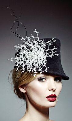 Rosie Olivia Millinery – A/W Large veiling patt… Mode Bizarre, 3 4 Face, Crazy Hats, Millinery Hats, Church Hats, Fancy Hats, Love Hat, Look Vintage, Ascot