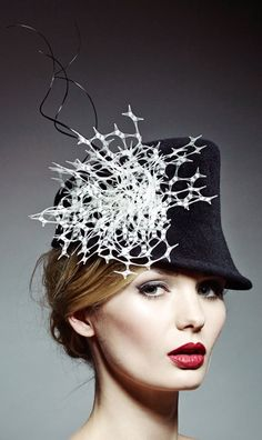 Rosie Olivia Millinery - A/W 2014. Love the contrast of black and white!