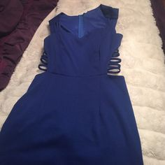 Cobalt blue Love Culture bodycon dress Cobalt blue Love Culture body con dress with side cut out and sweetheart neckline top. Seam under bust around rib cage. Size medium but fits like a small Love Culture Dresses Mini