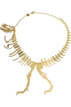Giant dinosaur necklace in gold mirror by Tatty Devine