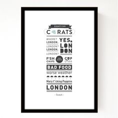 Typographic print by *leik – film dialogue from snatch London Fish And Chips, Logo Design, Graphic Design, Bad Food, Typography Prints, Handmade Items, Print Print, Plum, Posters