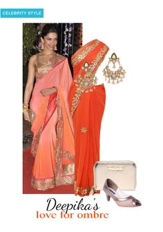 'Deepika love for ombre' by me on Limeroad featuring Orange Sarees, Semi Precious Gold Earrings with Gold Clutches
