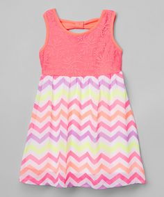 Look at this Neon Pink Chevron Dress - Toddler & Girls on #zulily today!