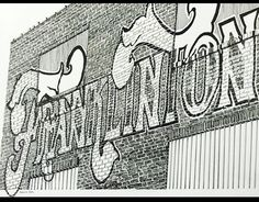 Balck & White sketch of a brick wall painted with a sign in ornate ltterforms.