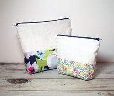 Linen Cosmetic Bags  Set of 2  Floral Makeup Bags  by jayciMay, $30.00 #cosmeticbag #makeupbags #zipperbags #makeupstoragebags #Cutecosmeticbag #linenzipperbag