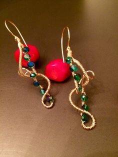 Hand wrapped gold wire earrings with crystal beads by HoneyMoonNYC on Etsy