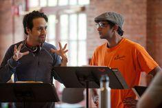 "Lin-Manuela Miranda and Utkarsh Ambudkar rehearsing ""Hamilton Mixtape."" The musical-in-development had a workshop at New York Stage and Film at Vassar College last weekend."