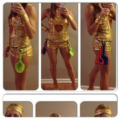 "These easy DIY costume is so punny... dress in gold and attach plastic shovels to your belt to look like a ""gold digger."""