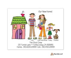 Cute moving card by Starfish Art - family is completely customize-able.