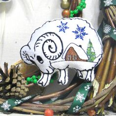 Christmas Ornament Snow lamb Sheep Tree от LeatherBagsBackpacks