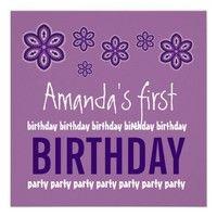 1st Birthday Purple Flowers Custom Name Template Custom Announcement from Zazzle.com.  #birthday #party #celebrate #celebration #invite #invitation #envelope #custom #customize #personalize #stamps #stickers