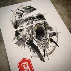 Gorilaum_ #studiogoma #goma90 #tattoo #sketchtattoo #sketch #tattoopins #tattsketches #dotwotk #blackwork #blacktattoo #gorila #gorilla #graphictattoo #design #art #illustration