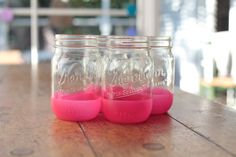 Neon-dipped mason jars! Use them for mom's flowers?