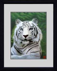 @>> King Silk Art 100% Handmade Embroidery Framed African African White Tiger Chinese Print Wildlife Animal Painting Anniversary Wedding Gift Oriental Asian Wall Art Décor Artwork Hanging Picture Gallery 740769