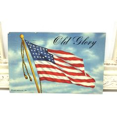 Vintage Postcard, Patriotic Postcard, Antique Postcard, Vintage... ($3.50) ❤ liked on Polyvore featuring home, home decor, american flag home decor, post card, red white and blue home decor and red white blue home decor