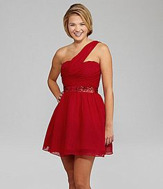 Hailey Logan One-Shoulder Dress | Dillards.com