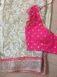 white net saree with pink blouse