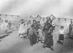 Romani (Gypsy) women and children interned in the Rivesaltes transit camp. France, spring 1942