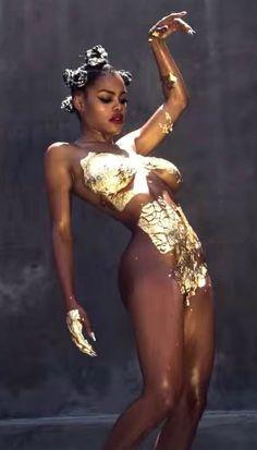 Teyana Taylor Gold Gilded Metallic Paint Nude Body Art