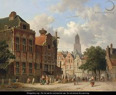Many Figures On A Square In Utrecht - Adrianus Eversen