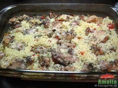 Pui cu legume si orez la cuptor Carne, Quiche, Oatmeal, Breakfast, Health, Recipes, How To Make, Food, Life