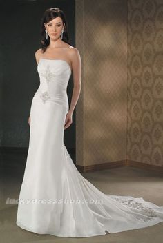 White Mermaid/Trumpet Strapless Satin Church Wedding Dress