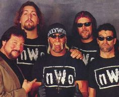 "Kevin Nash, Scott Hall, Hulk Hogan, The Giant, Syxx, Ted DiBiase, ""The Macho Man"" Randy Savage, and Eric Bishoff (N.W.O. - The New World Order)"