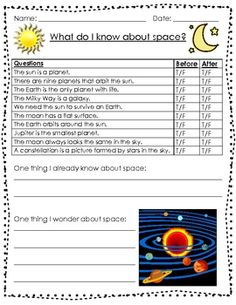 Here's an anticipation guide that can be used as a pre-assessment for a unit on the solar system.