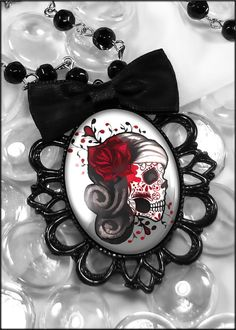 Dia De Los Muertos Dead Girl Sugar Skull Gothic Punk Black Filigree Necklace 438-FB