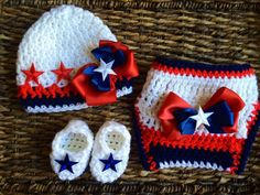 Crochet USA July 4th Holiday Baby Diaper Cover Gift Set with Bow