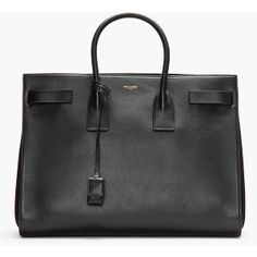 SAINT LAURENT Black Buffed Leather Sac Du Jour Carry-All Large Tote ($2,950) via Polyvore