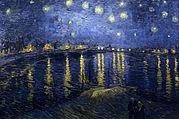 The top of the painting is a dark blue night sky with many bright stars shining brightly surrounded by white halos. Along the distant horizon are houses and buildings with lights that are shining so brightly that they are casting yellow reflections on the dark blue river below. The bottom half shows the Rhone river with reflected lights showing throughout the river. In the foreground we can see a shallow wave.