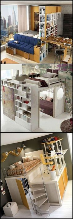 Space Saving Ideas – These examples prove that with proper design, a home short on floor space can be functional. You ca – Space Saving Ideas – These examples prove that with proper design, a home short on floor space can be functional. Tiny Spaces, Small Apartments, Studio Apartments, City Apartments, Loft Spaces, Small Space Living, Living Spaces, Living Room, Apartment Living