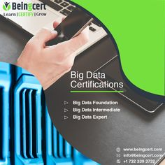 Big data expert certification, solutions and are helpful in progress of a professional if they are certified in these programs. Consult beingcert for getting certified in big data processing and application. Data Processing, Cloud Computing, Big Data, Certificate, Foundation, Knowledge, Learning, Studying, Teaching