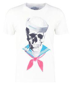 Jack & Jones JORNUAGE SLIM FIT - Print T-shirt - cloud dancer - Zalando.co.uk