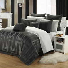 Chic Home 12-Piece Tribeca Queen Comforter Set in Metallic Gray - Beyond the Rack