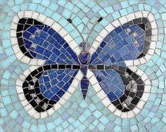 Butterfly mosaic- I Have the perfect glass tiles from Habitat Restore for this!!! Get to work!