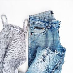 knit tanks + denim #oneteaspoon