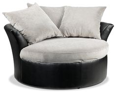Living Room Furniture-Cuddler II Chair looks so comfy Grey Bedroom Furniture, Office Furniture Design, Trendy Furniture, Living Room Furniture, Round Swivel Chair, Cuddler Chair, Ikea Living Room, Living Area, Corner Couch