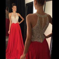 Red Prom Dresses, Halter prom Dress, Mermaid Prom Dress, dresses for Prom, Beaded prom dresses 2017, PD1701