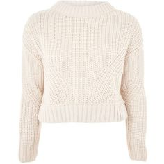Topshop Boxy Cropped Jumper (£22) ❤ liked on Polyvore featuring tops, sweaters, shirts, jumpers, blusas, oatmeal, pink shirt, cropped sweater, boxy sweater and stitch sweater