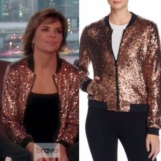 Lisa Rinna's Gold Sequin Bomber Jacket is in stock and on sale! Details: http://www.bigblondehair.com/my-style/lauren-loves/real-housewives-trend-to-try-a-metallic-bomber-jacket/ Real Housewives of Beverly Hills Fashion