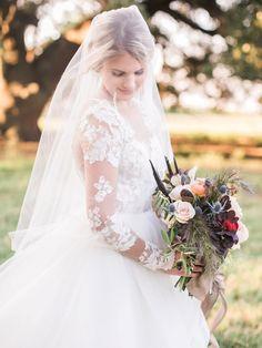 gorgeous lace sleeved wedding dress | Luke & Cat Photography